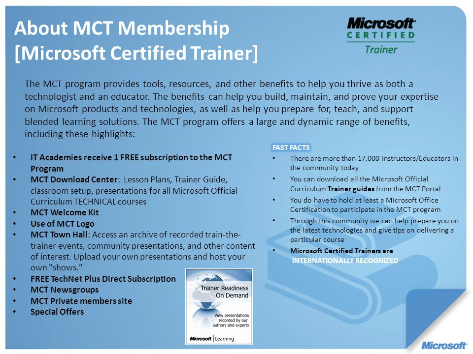 About MCT Membership [Microsoft Certified Trainer]